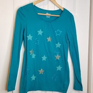 Circo girls sparkly stars teal top